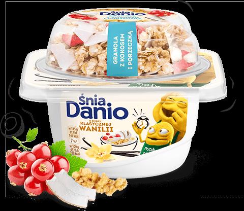ŚniaDanio serek o smaku klasycznej wanilii z granolą, porzeczką i kokosem
